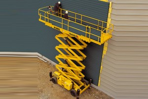 Scissor Lift Hire Machine in Yellow